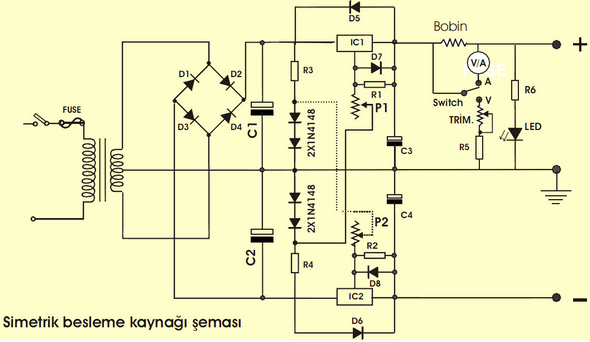 Simple Power Supply Circuits LM337 LM317 simetrik besleme kaynagi devre semasi basic power supply circuit