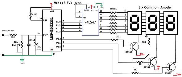 Voltmeter Circuit with MSP430 ADC Example voltmeter voltage divider msp430 adc volt calculation msp430g2231