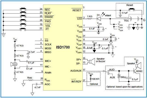 digital voice recorder circuit 60 120 seconds electronics projectsdigital voice recorder circuit 60 120 seconds isd1760 60sn isd1790 90sn isd17120 120sn digital volume control