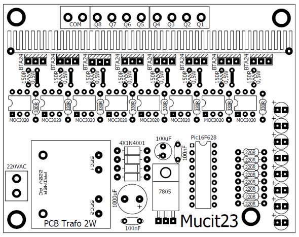moc3020-triyak-pic16f628-circuit-PCB-Top-View