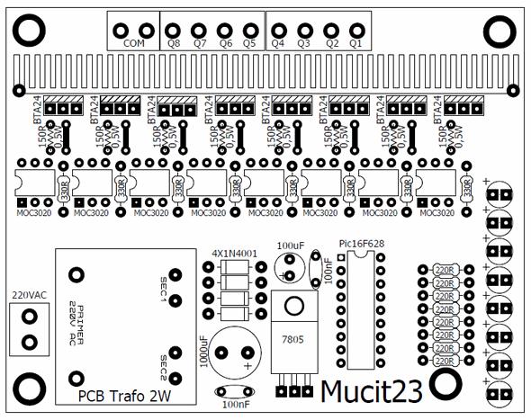 8 channel 24 amp triac animation circuit pic16f628
