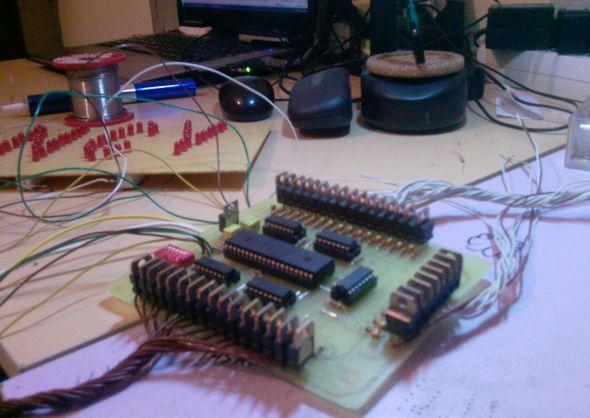 40 Channel Animation Led  Circuit PIC18F452 pcb ares pic18f452 74ls595 led leds 40 kanal animasyon devresi