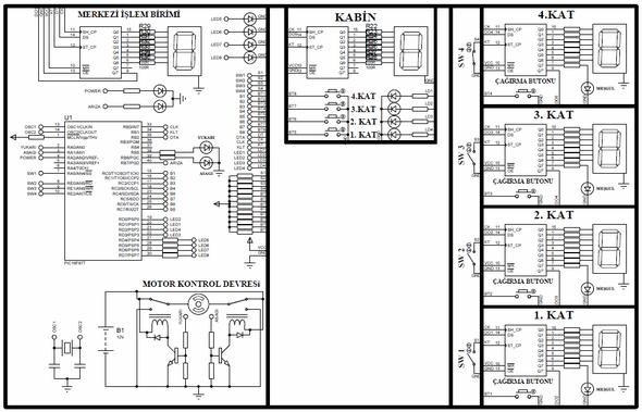 4th Floor Elevator Control Circuit PIC16F877 4 floor elevator control circuit pic16f877 asansor