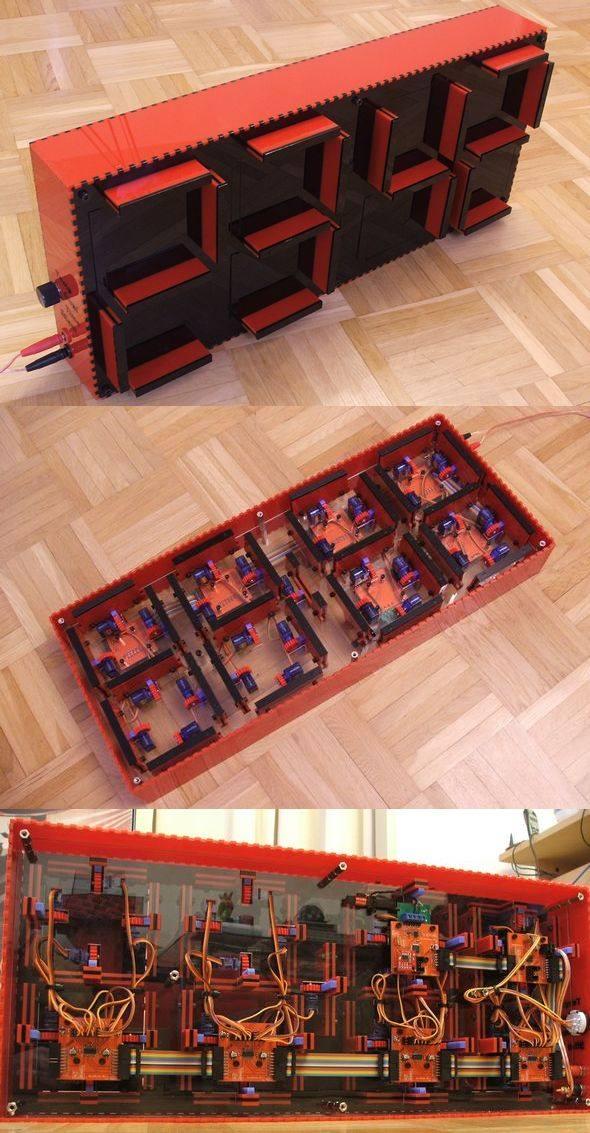 Mechanical Clock Circuit ATmega8 clock atmega8 hxt 500 acrylic glass 75hc595 ds1307 dcf77 lm75