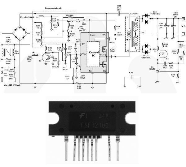 24V Switch Mode Power Supply FSFR2100 fsfr2100 smps schematic circuit 24v 8a power