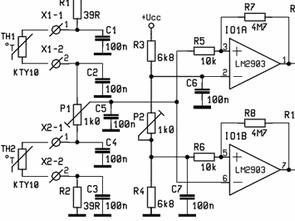 KTY10 LM2903 Sıcaklık Sensörü Röle Kontrol