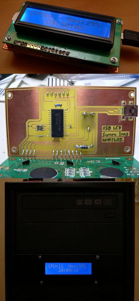 USC LCD  Computer CPU RAM Indicator PIC18F2550 pc case usb lcd pic18f2550 usb hid lcd cpu ram