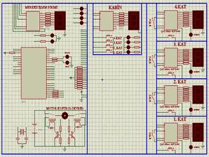 PIC16F877 4 Katlı Asansör kontrol devresi