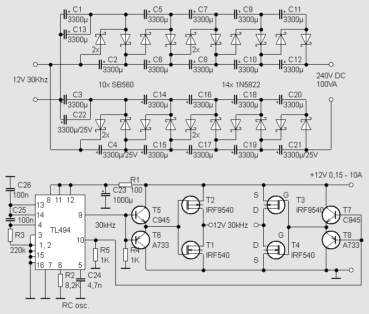 Ir2153 Tl494 12v 240v Dc 100w Trafosuz Donusturucu on electronic circuit diagrams