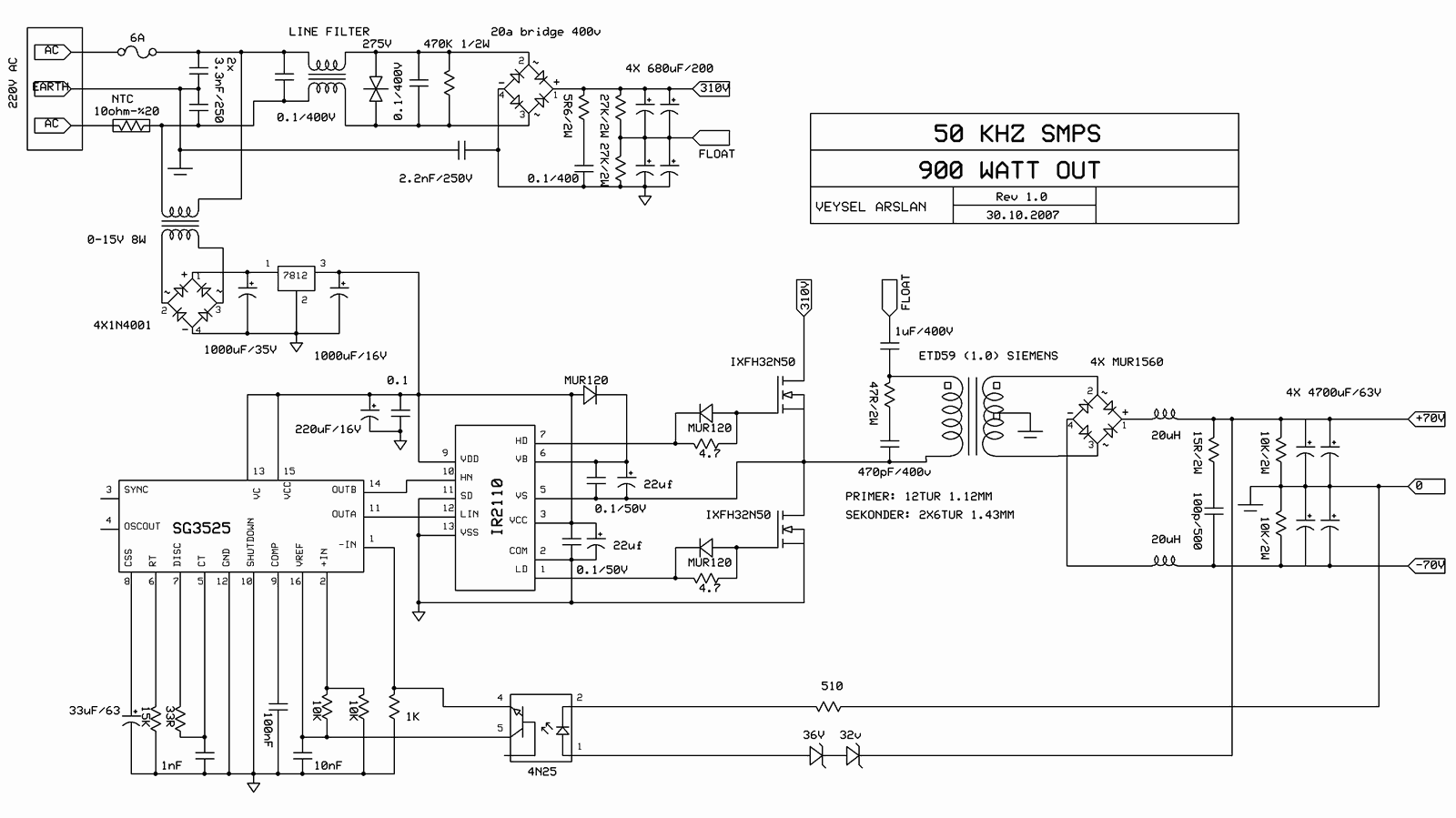 Switch Mode Power Supply Circuit Sg3525 Ir2110 900w Smps Switching Diagram 50khz 4n25