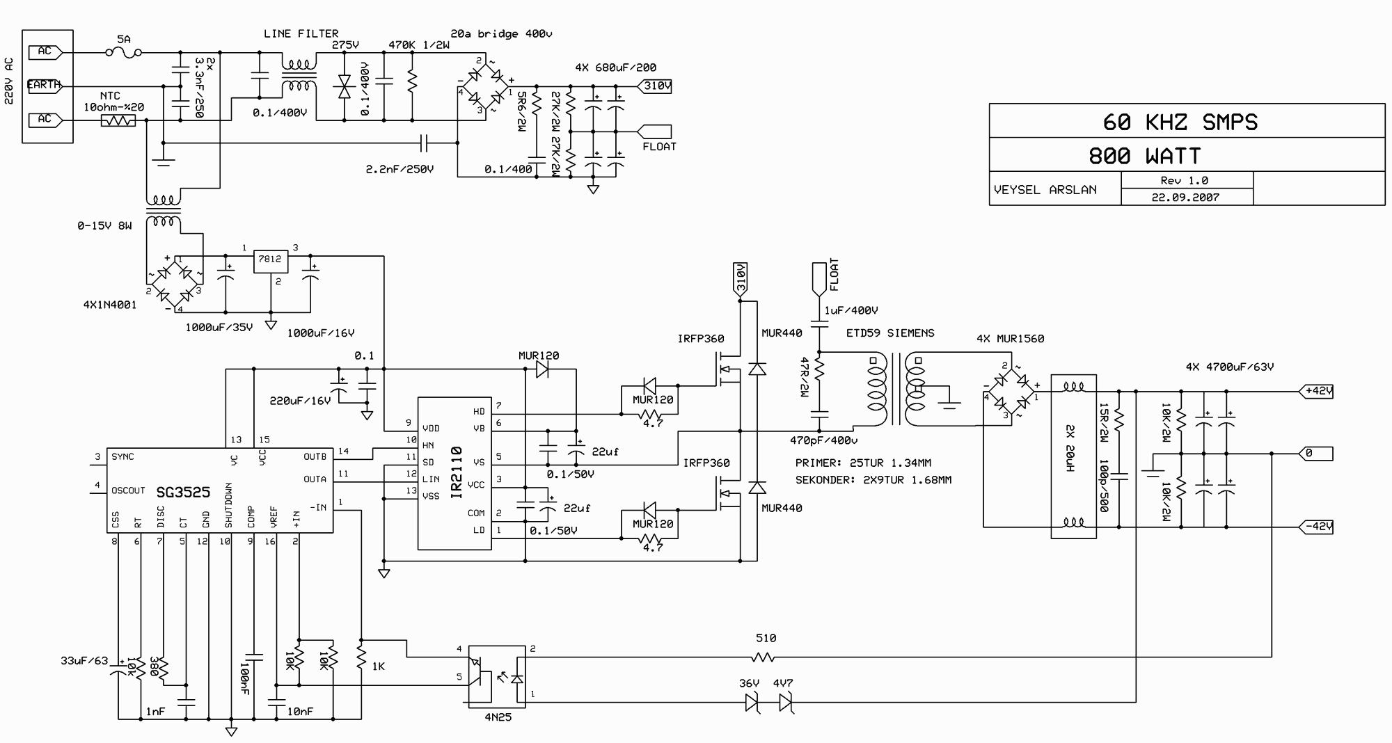 Switch Mode Power Supply Circuit Sg3525 Ir2110 900w Smps Currentlimiting With Reference Amplifier Diagram 60khz 800w
