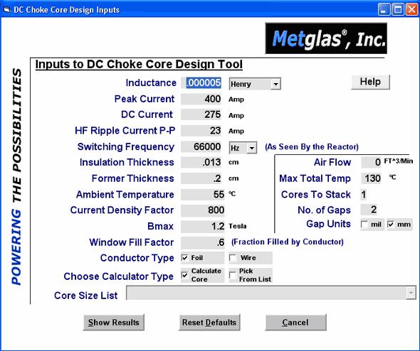 dc-choke-dcc-core-design-tool-peak-switching-factor-calculator