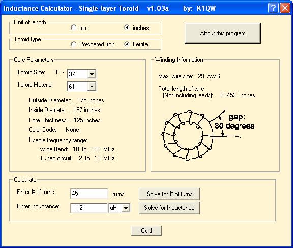Single Layer Toroid Inductance Calculator Program