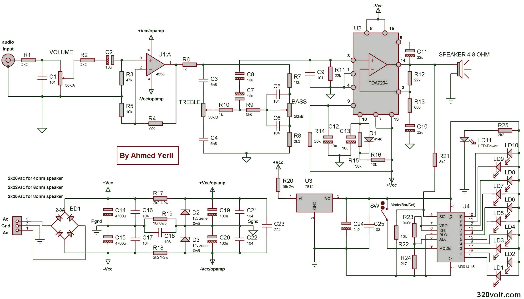Tda7294 Komple 100w  lifikator Vu Metre Ton Kontrol together with  on tda7294 200w 100w subwoofer anfi devreleri