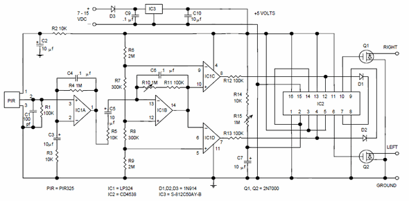 pir motion detector control circuit pir 325 electronics projects rh 320volt com pir sensor circuit diagram pir sensor circuit diagram pdf