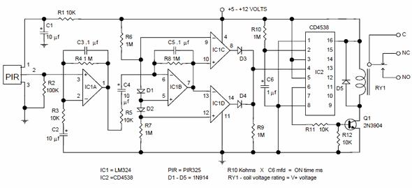 Pir Motion Detector Control Circuit Pir 325 Electronics