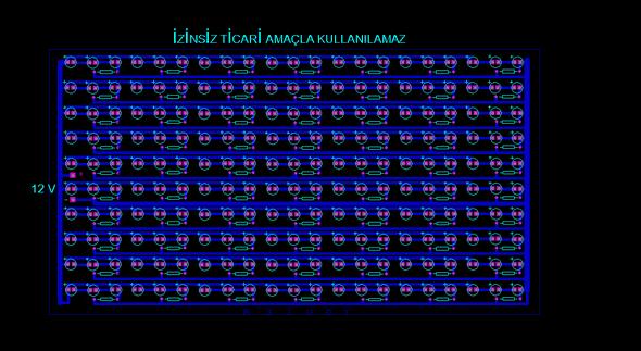 LED Projector Circuit 210 ledli projektor devresi proteus ares pcb