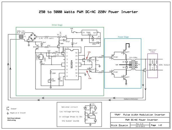 5000 watts amplifier schematic diagrams 250w 5000w sg3524 dc ac inverter circuit electronics projects  250w 5000w sg3524 dc ac inverter
