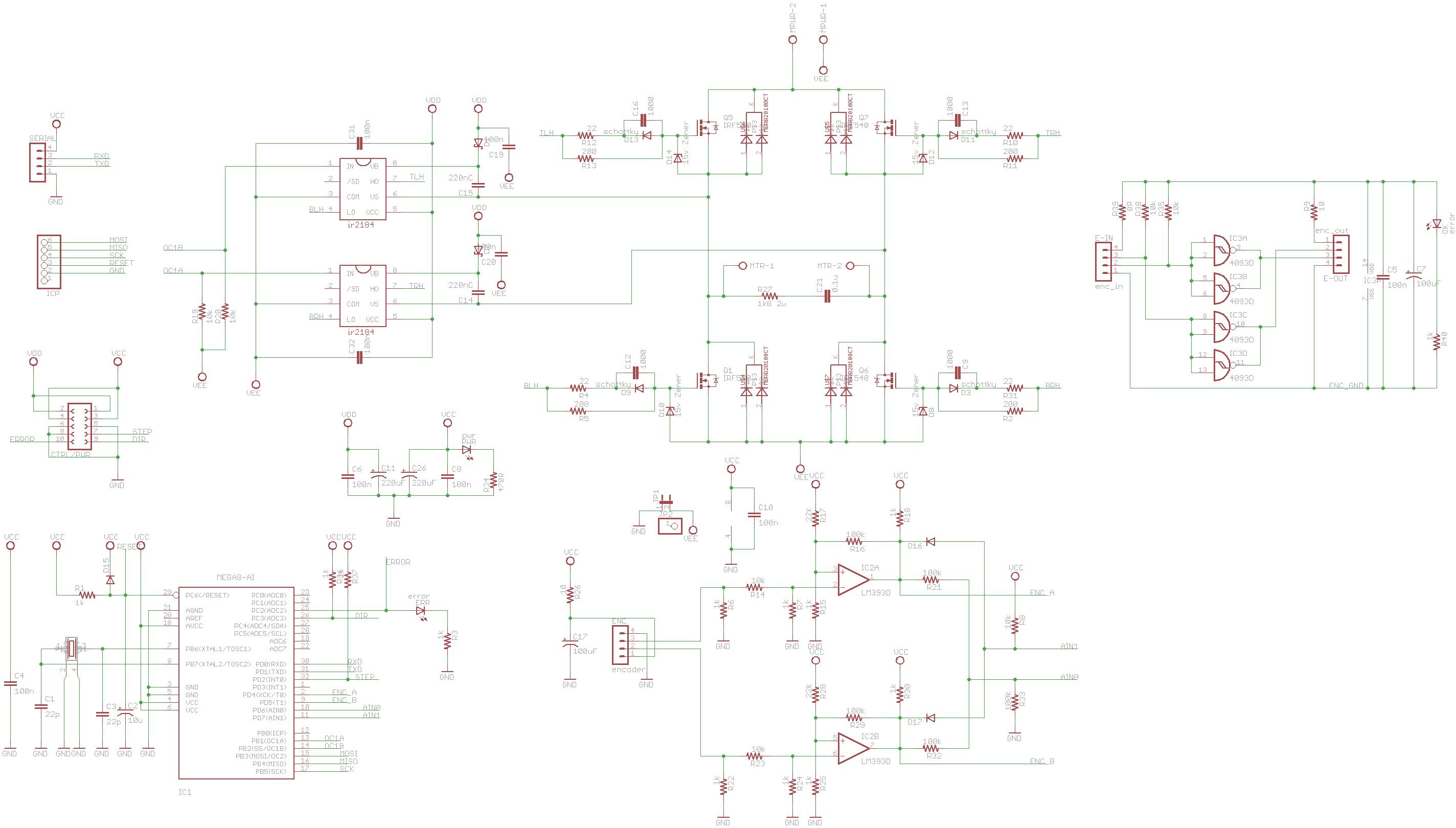 atmega88 ir2184 dc servo motor driver circuit