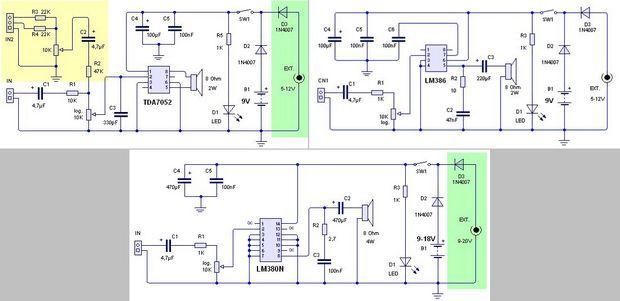 Amplifier Circuits 1w 2 5w Tda7052 Lm386 Lm380n