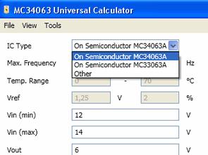 MC34063A MC33063A Hesaplama Programı