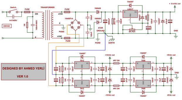 Constant voltage, output power Supply Set for experiments power supply schematic