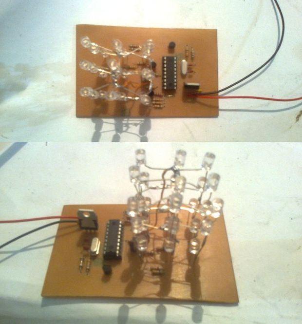 3x3x3 LED Cube with PIC16F628 microcontroller circuit led cube circuit led kupu yapimi led kup yapimi led kup nasil yapilir led kup devres