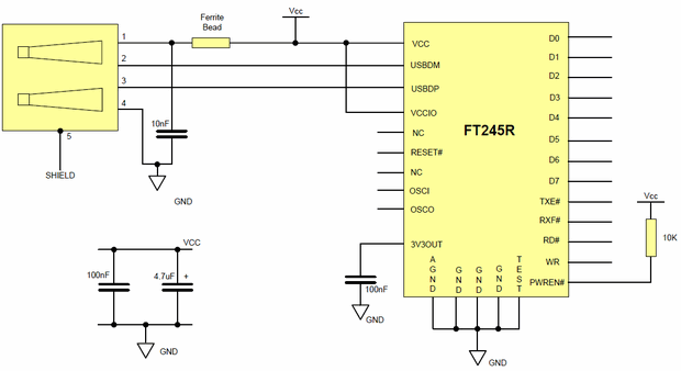 FT245R USB control program and application circuit schematic ft245r usb fifo kontrol circuit windows