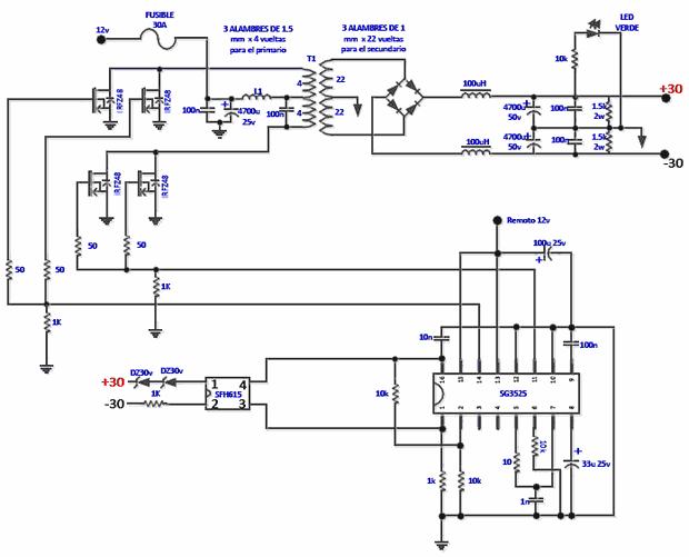 190W RMS Darlington Car Amplifier TIP142 TIP147 SG3525 Converter