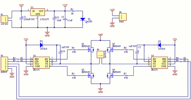 H-bridge Dc Motor Driver Circuit With Ir2101