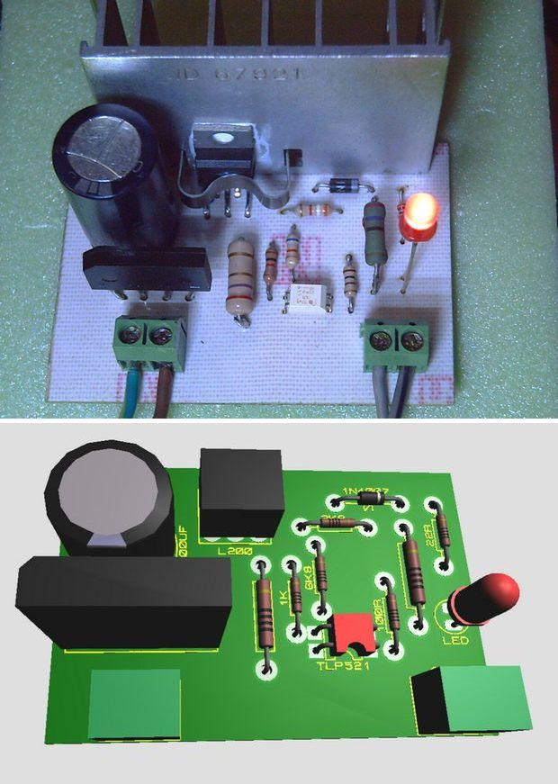 12V 7ah 1.3Ah battery charging regulator circuit with L200 l200 regulator aku sarj devresi 12v aku sarj 7ah sarj 1 3ah sarj