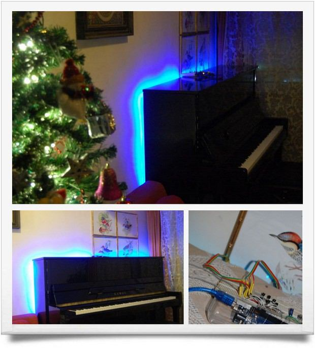 Piano sound controlled RGB LED ambilight Arduino Mega arduino rgb