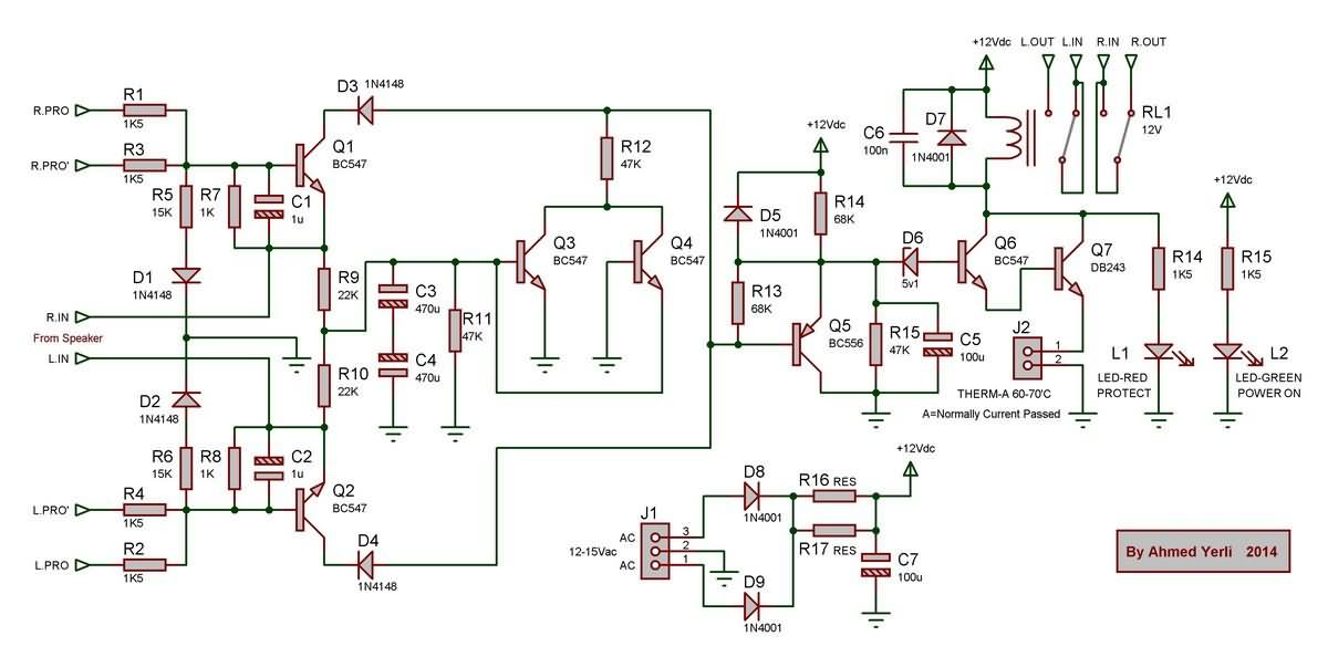 complete speaker protection circuit electronics projects circuits relay module schematic diagram relay schematic diagram g;1500 se