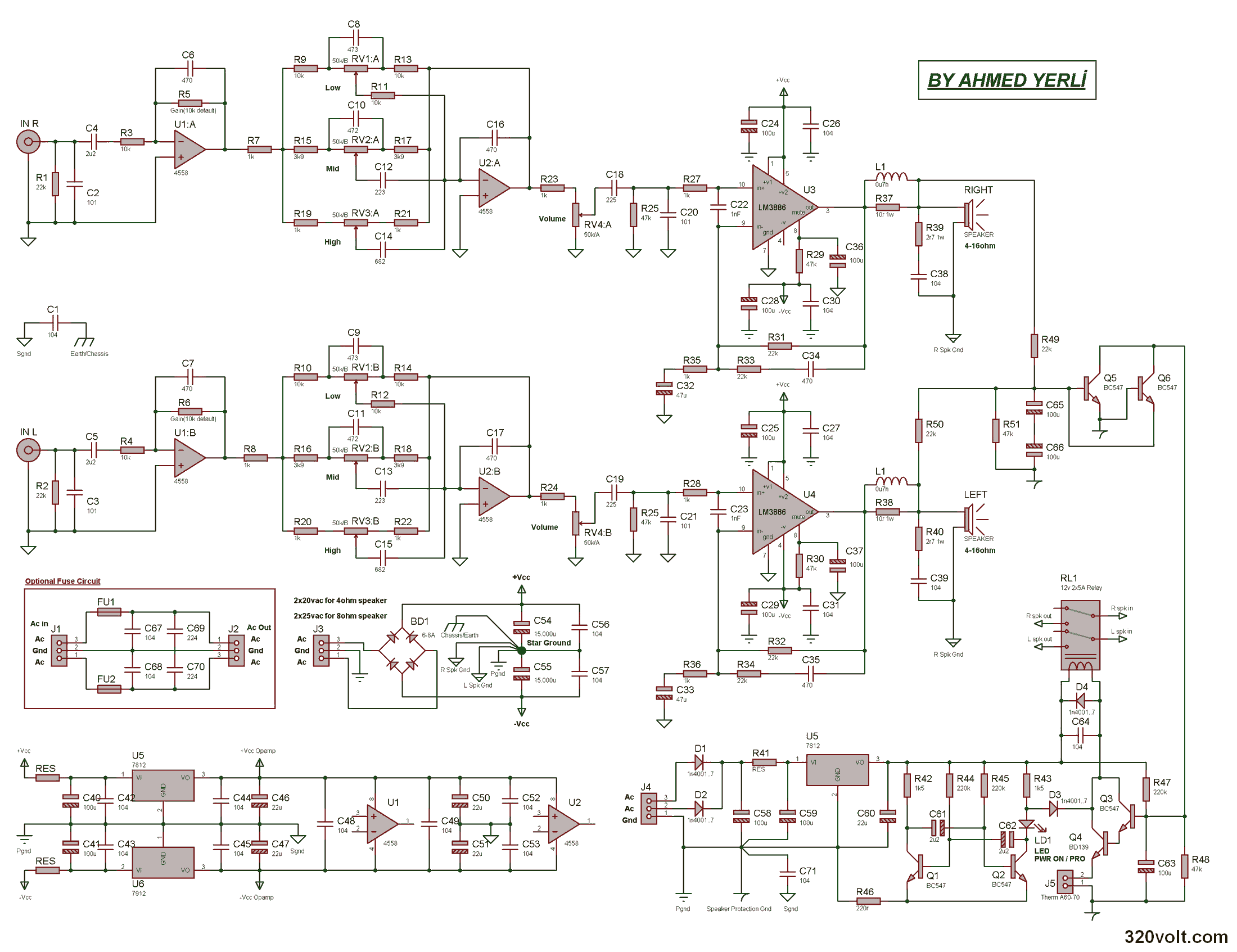 Stereo Amplifier Project With Lm3886 Electronics Projects Circuits Hifi Headphone Circuit Electronic And Diagram Devre 120x120