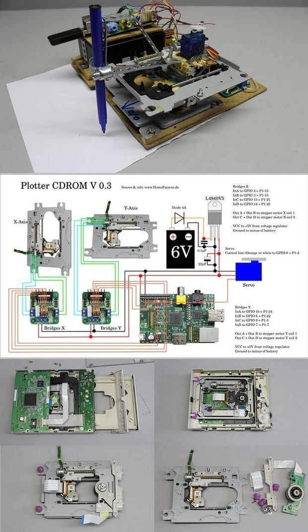 Raspberry Pi CD ROM mechanics with Plotter plotter devresi plotter projesi raspberry pi plotter wireless plotter