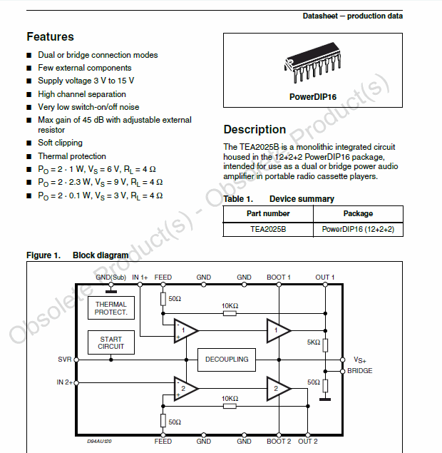 TEA2025B stereo Amplifier circuits tea2025b datasheet