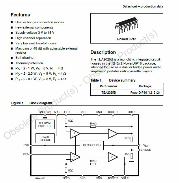 TEA2025B stereo Amplifier circuits tea2025b datasheet