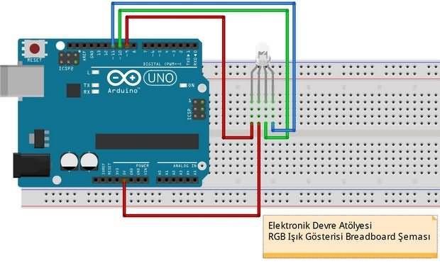Arduino uno ve rgb led ile mini işık gösterisi