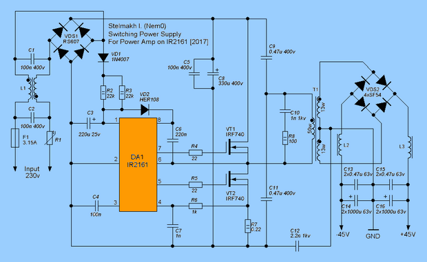IR2161 SMPS Circuit IR2153 Alternative ir2161 smps schematic ir2161 circuit