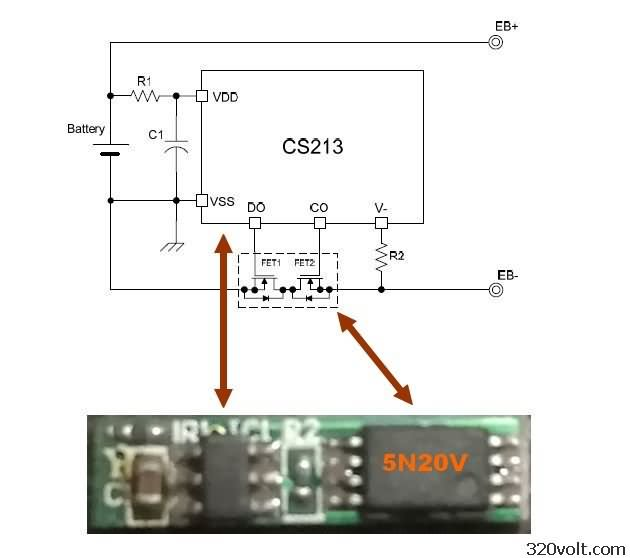 5n20v-cs213-battery-protection-circuit-schematic-desarj-koruma-devre-semasi