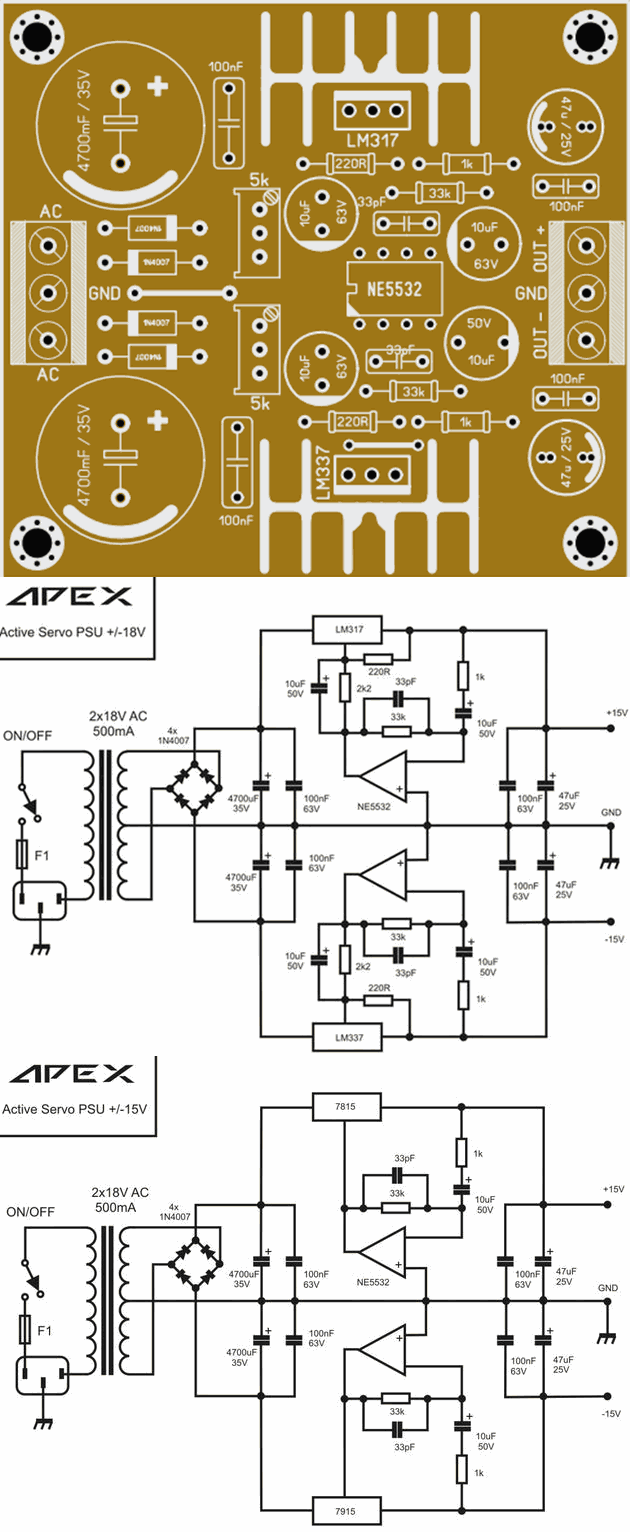 Amplifier Protection And Power Supply Circuits Electronics Battery Chargher Using Lm317 Regulator Circuit Schematic Lm7815 Lm7915 Dc Servo Lm337