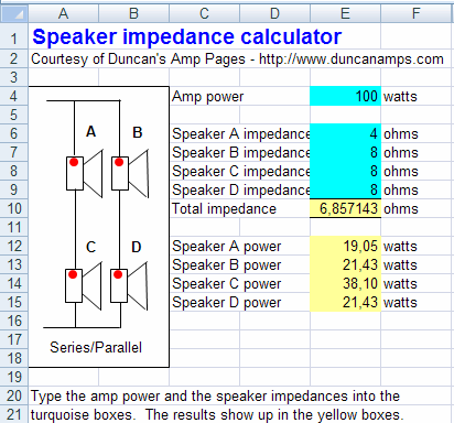 Speaker Parallel Serial Connection Calculator - Electronics