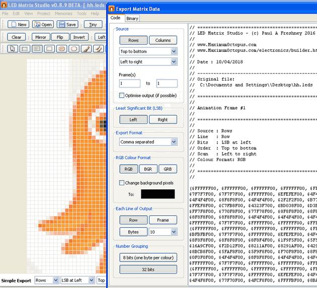 code-kod-resim-led-matrix-hex-binary