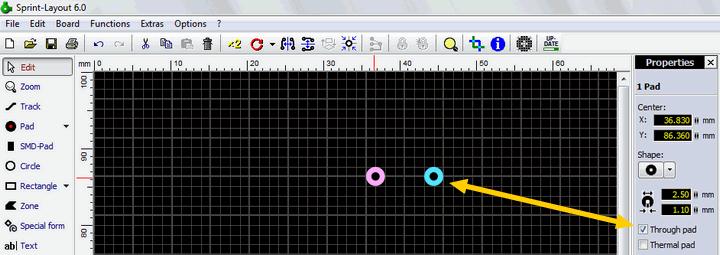 sprint-layout-through-pad-pcb