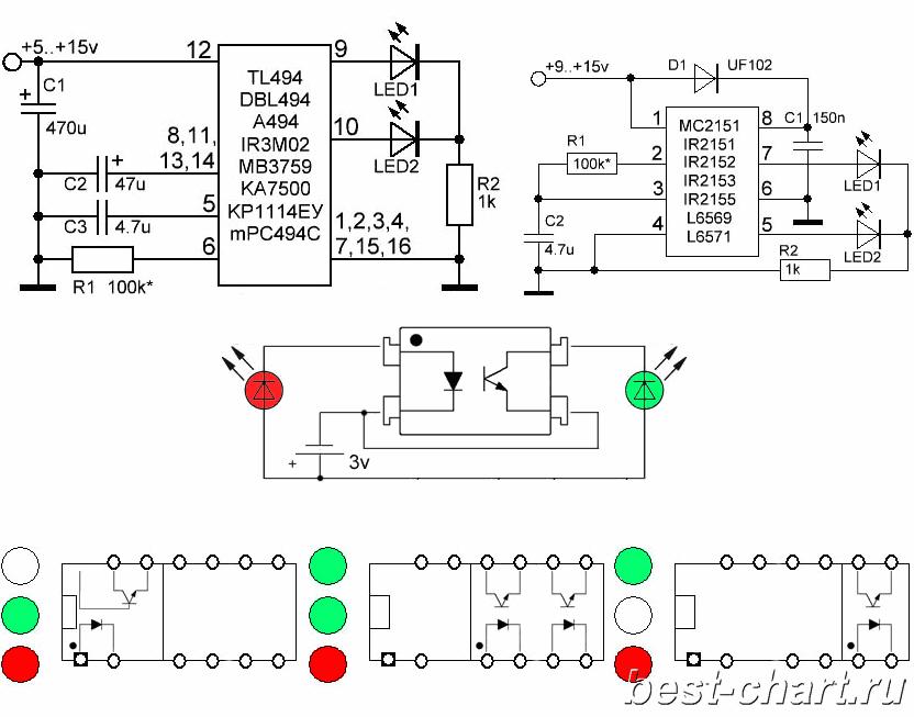 tl494-ir2153-optocoupler-test-circuits-schematics